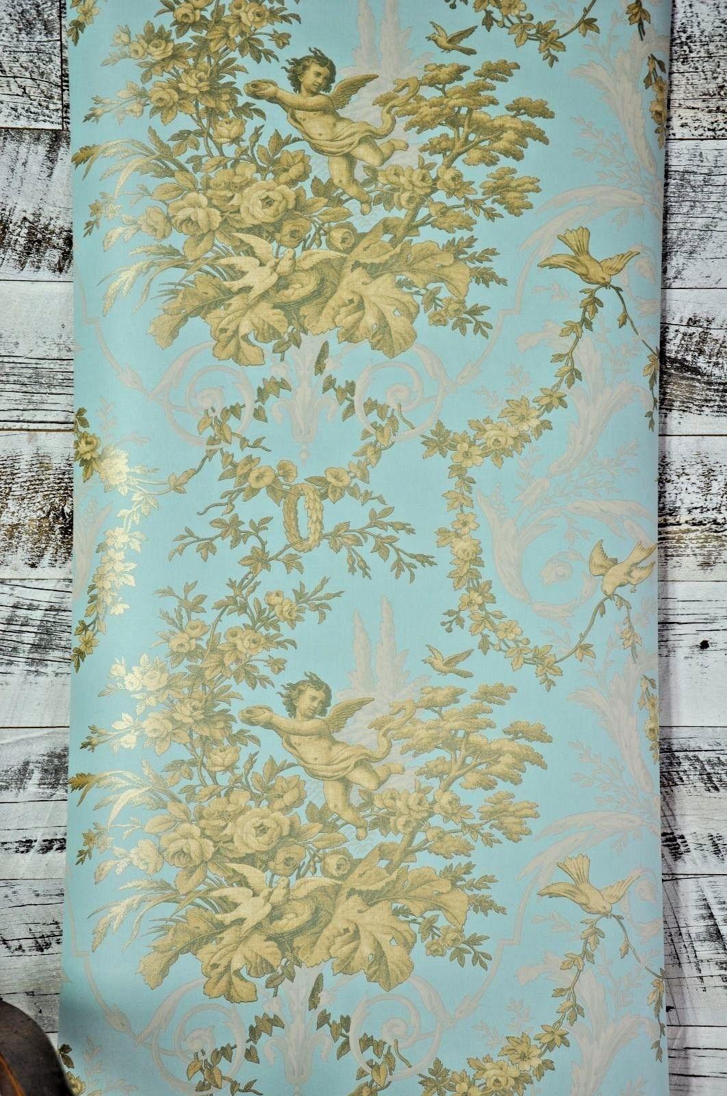 Vintage Victorian Blue Cherub Floral Classic Scroll Gold Designer