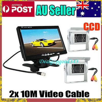 "2x 18 LED IR CCD Reversing Camera + 7"" LCD Monitor 12V Car Rear View Kit White"