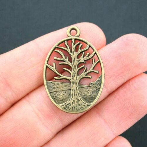 BC1449 4 Tree Charm Pendants Antique Bronze Tone Winter Tree