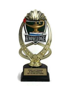 Lamp Of Knowledge Trophy #2- Learning- Trivia- Desktop Series- Free Lettering