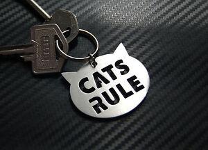 Cats-Rule-chat-amant-felin-Porte-cle-Cle-sur-mesure-ACIER-INOXYDABLE-CADEAU