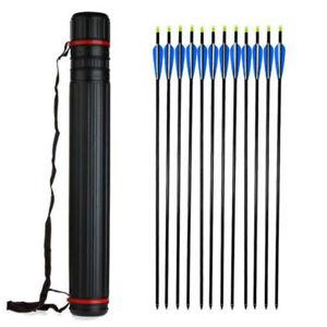 Archery Arrow Quiver Back Case Adjustable Tube Shoulder 63-100cm for 24pcs Arrow