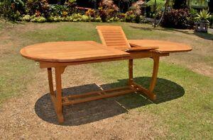 OVAL TABLE TRESTLE LEG TEAK WOOD GARDEN OUTDOOR DINING - Oval trestle dining table
