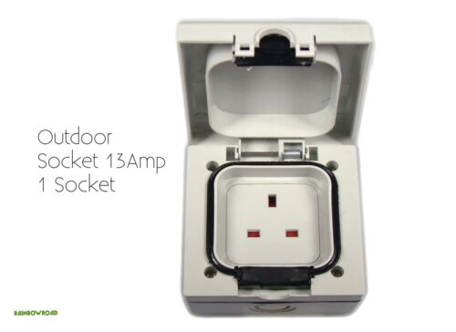 Outdoor Socket étanche 13 Amp UK SINGLE 1 gang neuf livraison gratuite