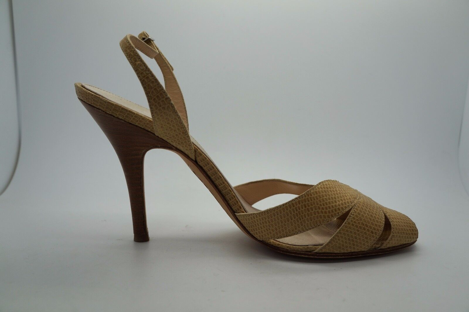 RICHARD SHAH 40 Tan Beige Embossed Leather Strappy Heels Sz 40 SHAH US 10 EUC bb0aa3