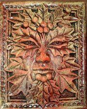 Green Man Forest God Season Leaf Face Mask Wall Sculpture