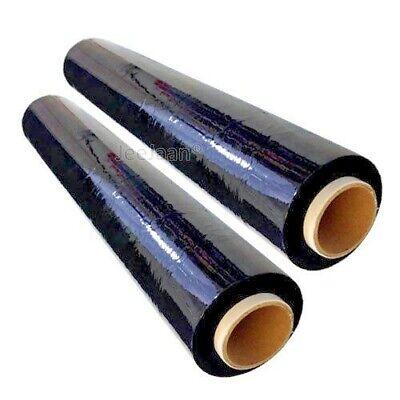 2 Rotolo Nero Elasticizzato Pallet Wrap continuo Film d/'imballaggio 500 mm x 250 M 25MU
