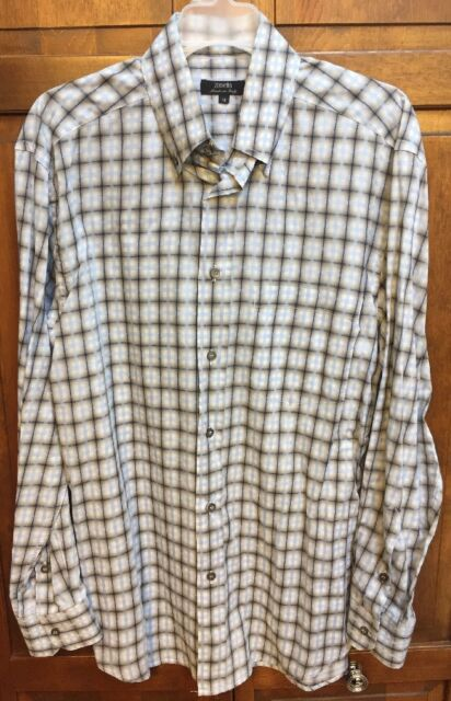 Zanella Long Sleeve Shirt Casual Striped Blue Gray Cotton Made in Italy Men's M