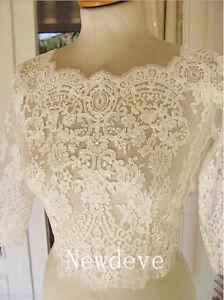 Wedding-Bolero-3-4-Sleeve-Button-Pearls-Lace-Bridal-Jackets-White-Wraps-Custom