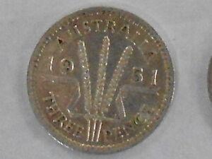 1951 pl  Australia George VI  Silver 3d Threepence very Nice
