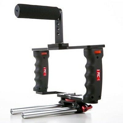 Authorized P&C DSLR Camera GearBox GB-3 Video Cage w/ 15mm Rod +Top Handle Grip