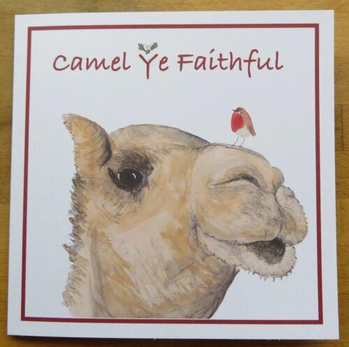 "Christmas Greeting Card 6/""x6/"" Camel Fun WordsRobin"