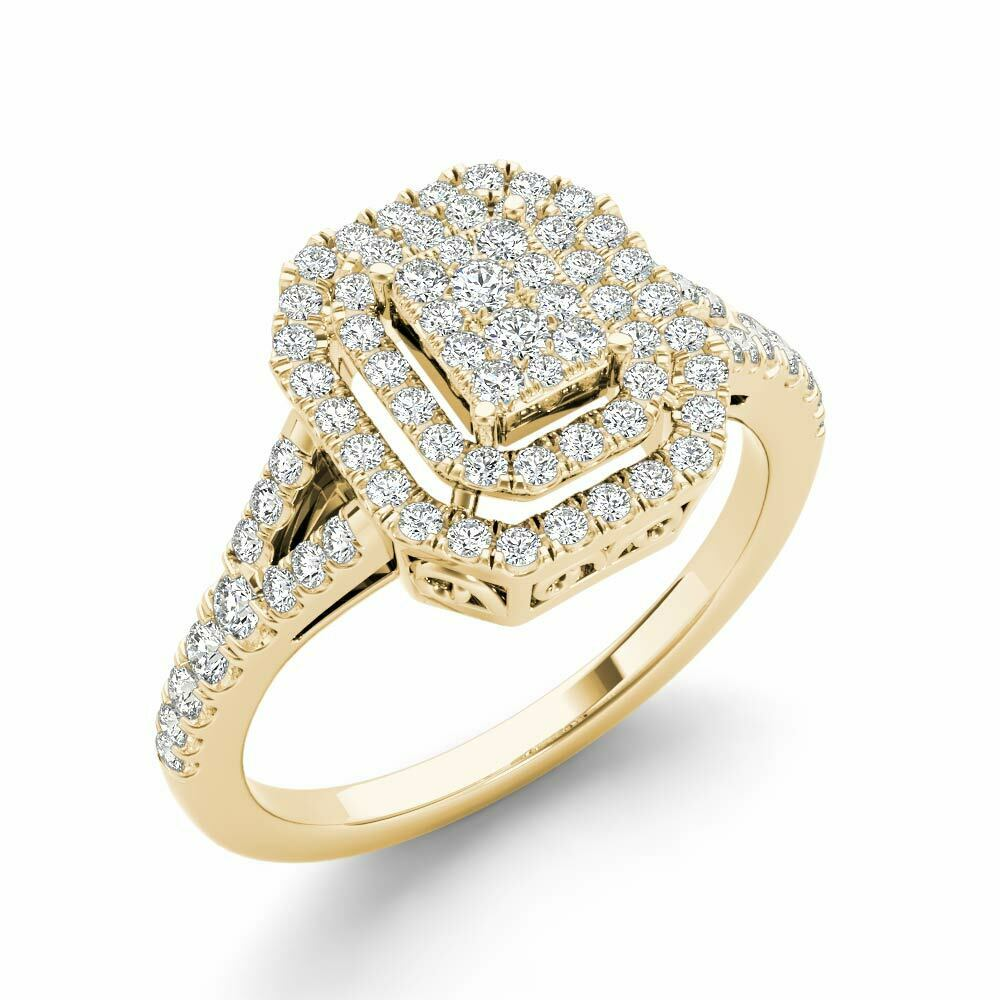 10k Yellow gold 1 2ct Diamond Cluster Double Halo Engagement Ring