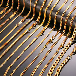 Gold-Men-Necklace-Chain-Snake-Rolo-Cable-Curb-Link-Stainless-Steel-24-034-w-18K-Tag