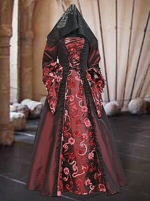Renaissance Medieval Style Dress Gown in Embroidered Taffeta, Color Options