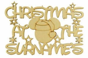 Personalised-MDF-Wooden-Plaque-Christmas-at-the-Wood-Craft-Sign-Family-Gift