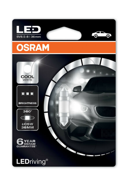 OSRAM LED 6000k Cool Bianco c5w 239 36mm 1w LED FESTONE LAMPADINA INTERNI 6498cw-01b
