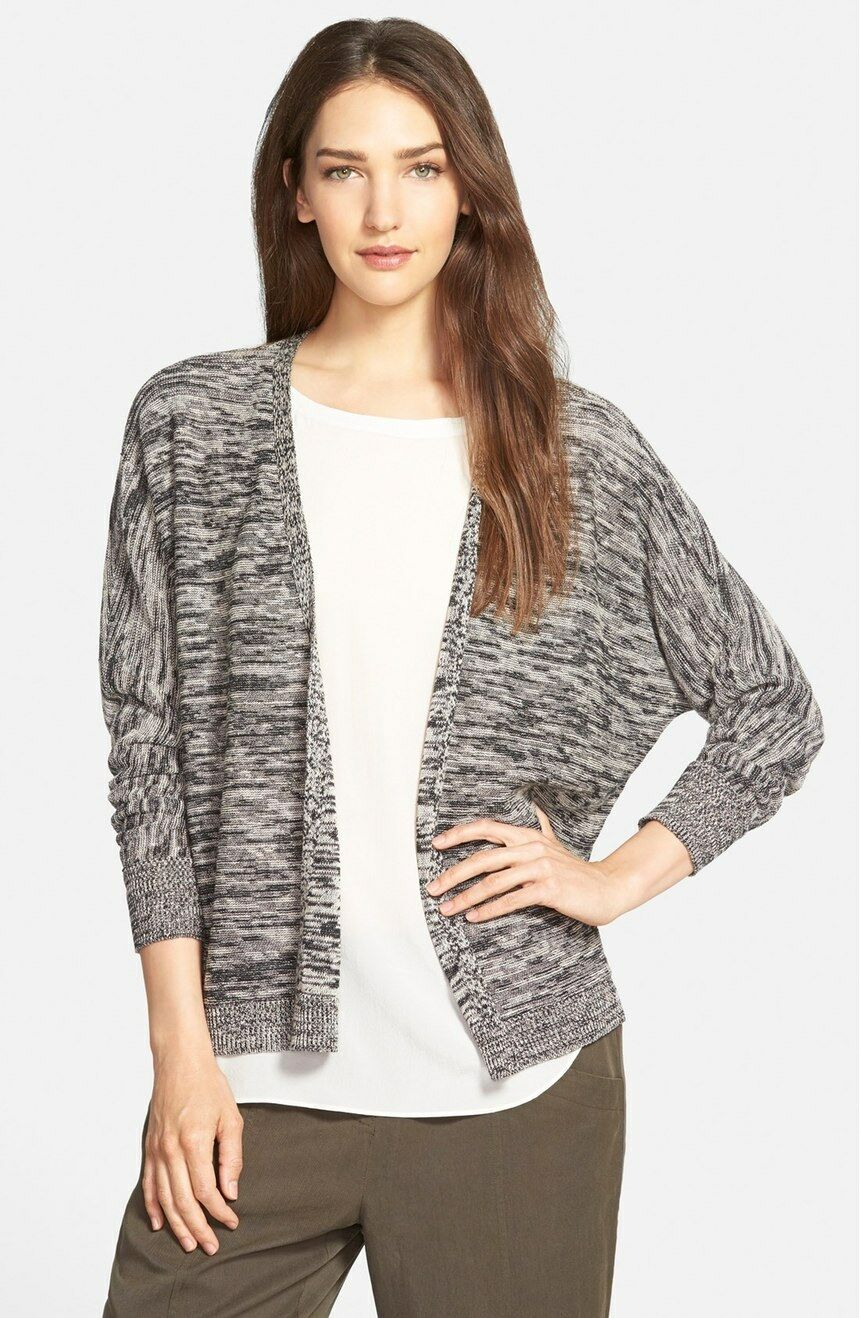 Eileen Fisher Organic Linen Twist Mix Angle Front Sweater Cardigan M