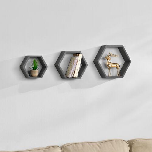 en.casa ® 3er Set Sechseck Regal Wandregal Hängeregal Design Wabe Lounge Grau