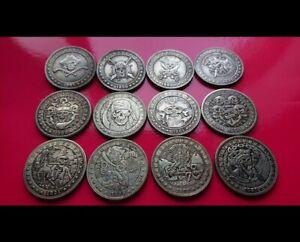 12x MORGAN DOLLAR PIRATE SKULL AND TREASURE HOBO FANTASY CARVED COIN