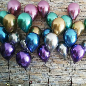 10pc-10-034-Chrome-Brillant-Ballon-Bouquet-Anniversaire-Fete-Fete-Decor-De-Mariage