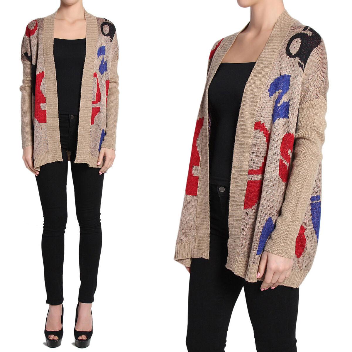TheMogan Letter Print Gerippter Strickpullover mit offener Vorderseite und Strickjacke Layering Jacket