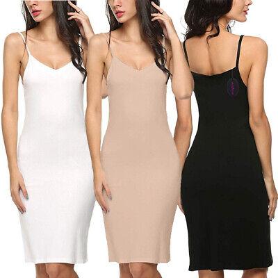 Chamllymers Full Slips for Women Cotton Blend Under Dress V Neck Straight Dress Nightwear