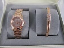 NEW Michael Kors Petite Pave Runway Rose Gold Watch Bracelet Set MK3626 NIB Mini