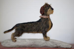 Wire-Haired-Dachshund-034-Mistral-034-One-of-a-kind-needle-felted-dog-sculpture