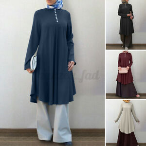 Royaume-Uni-pour-femme-a-manches-longues-Casual-Loose-shirt-abaya-caftan-musulman-Top-Blouse-Pull