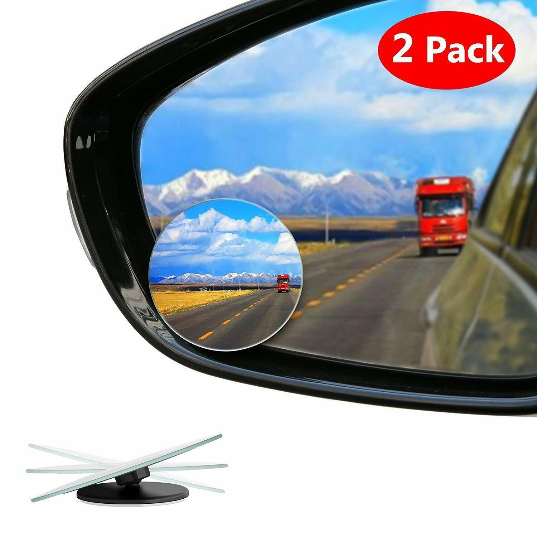 "Blind Spot Mirror 2/"" Round HD Glass Frameless Convex Rear View Mirror 2 Pack"