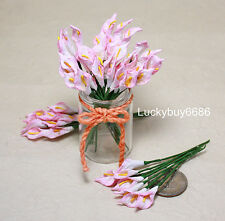50 Pink Rim Arum Calla Lily Scrapbook Craft Mulberry Paper Flower Wedding Card