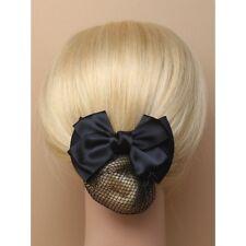 Black satin double bow barrette hair clip with black mesh snood 9cm Hair Bun net
