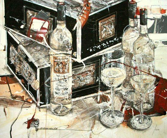Norbert Mayer Es wird a Wein sein Keilrahmen-Bild Küche 64x80 Künstler-Leinwand