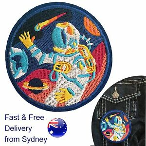Astronaut-iron-on-patch-Space-Star-NASA-Astronomy-round-heat-transfer-patches