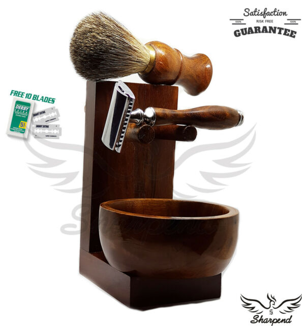 4 Piece Brown Shaving Set |DE Safety razor & Badger Brown Brush | Men's Gift Kit