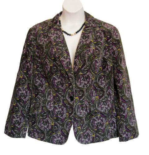 Talbots VELVET Blazer Plus Size 18W 1X PAISLEY Jac