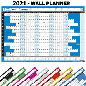 2021 Year Planner Wall Chart With 2022 Calendar Inc Holidays Home Office Work Ebay