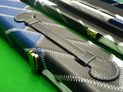 Holds 2 cues White /& Blue Padded lining Details about  /1pc Domino Snooker Cue case Black