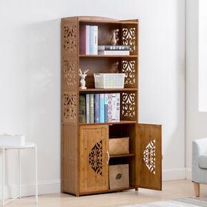 Image Is Loading Bamboo Wooden Bookcase Bookshelf Storage Shelf Carving Furniture