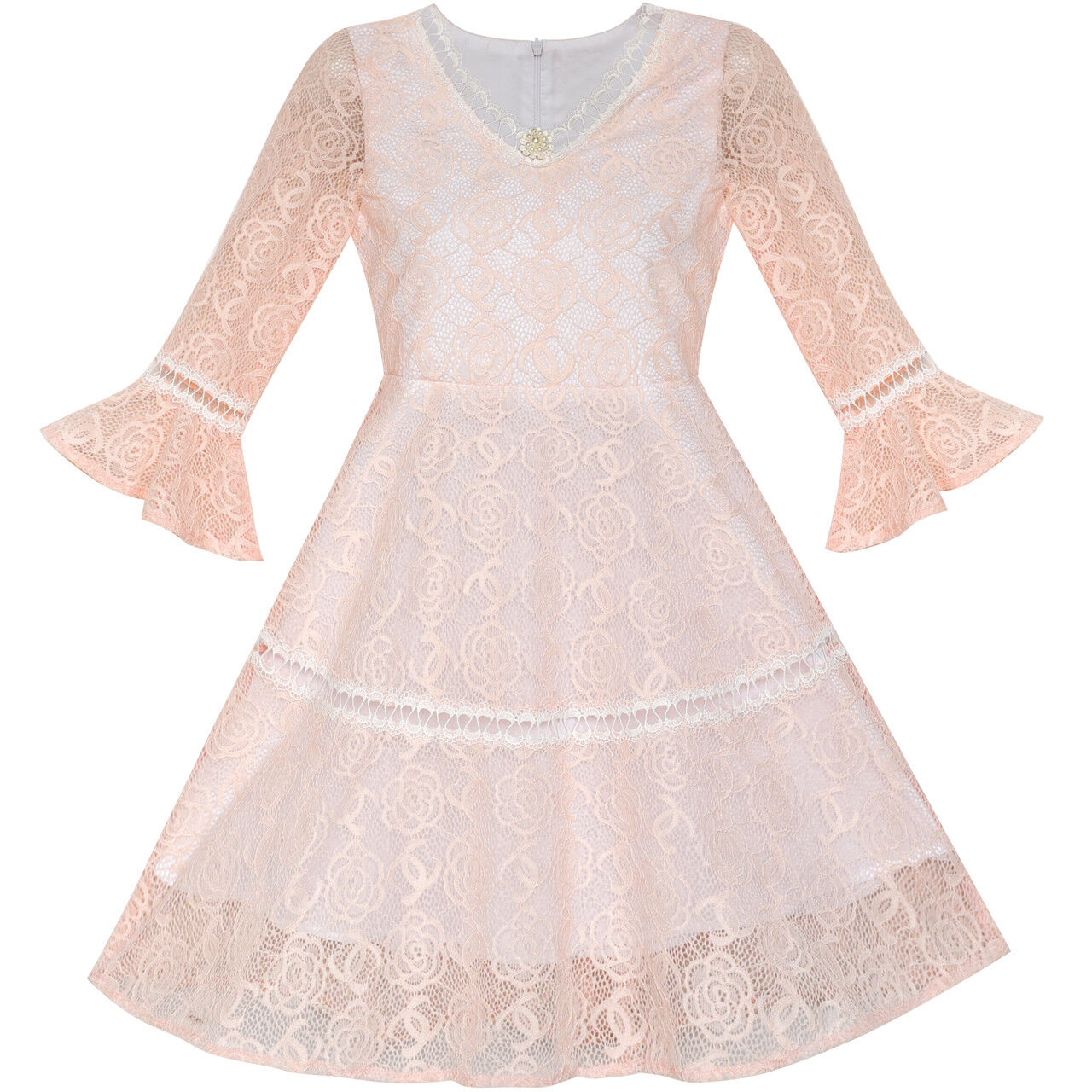 Sunny fashion flower girl dress lace blush pink bell sleeve party tips the size is measured manually please allow minor errors of size measurement mightylinksfo