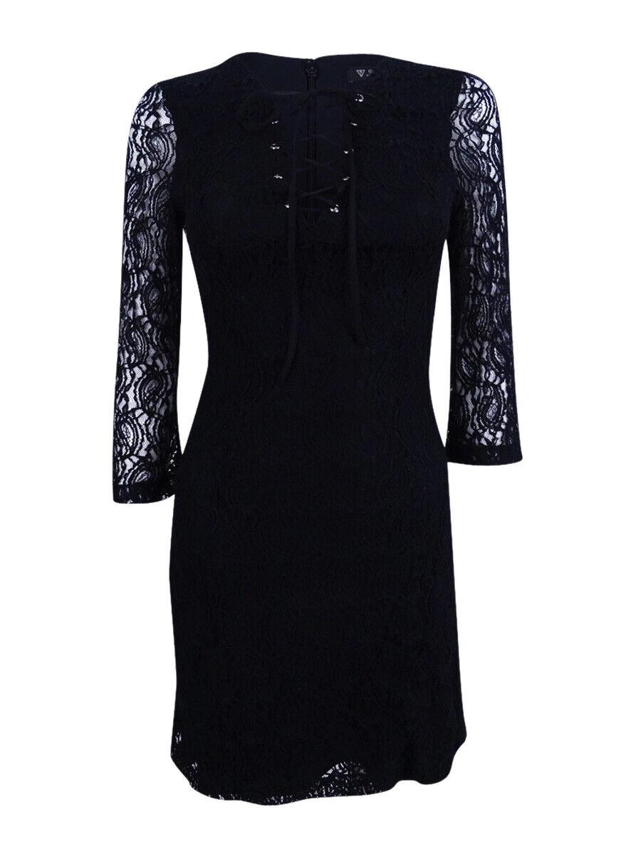 Guess Woherren Illusion-Sleeve Lace-Up Bodycon Dress (2, schwarz)
