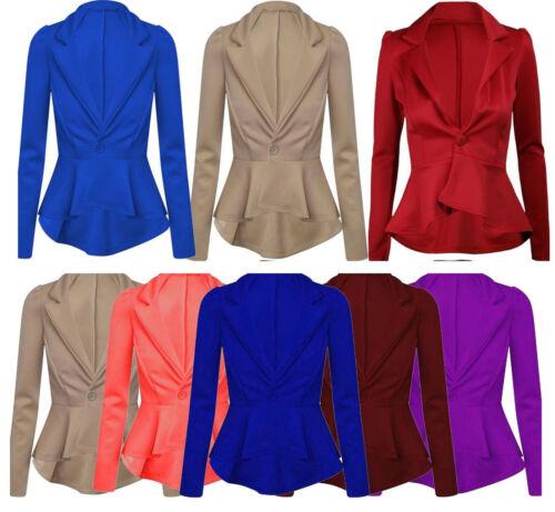 New Womens Crop  Shift Slim Fril Fit Peplum Blazer Ladies Jacket Coat Size*ScbJk