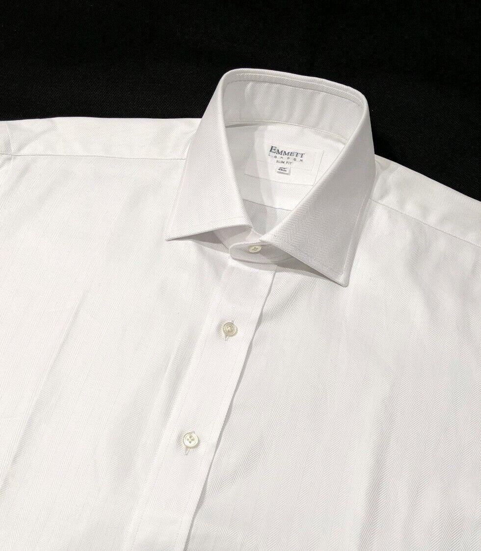 New Emmett herren hemd Weiß Herringbone Slim Fit 17.5 , 44cm