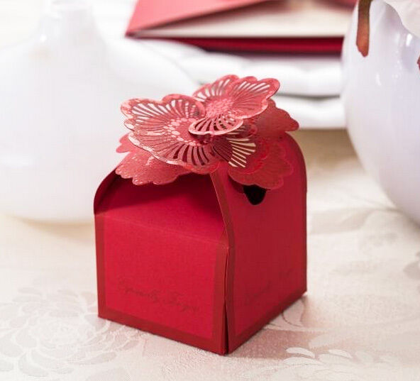 10Pcs Red Stylish Wedding Favor Candy Boxes Laser Cut Flower Gift Box New BX017