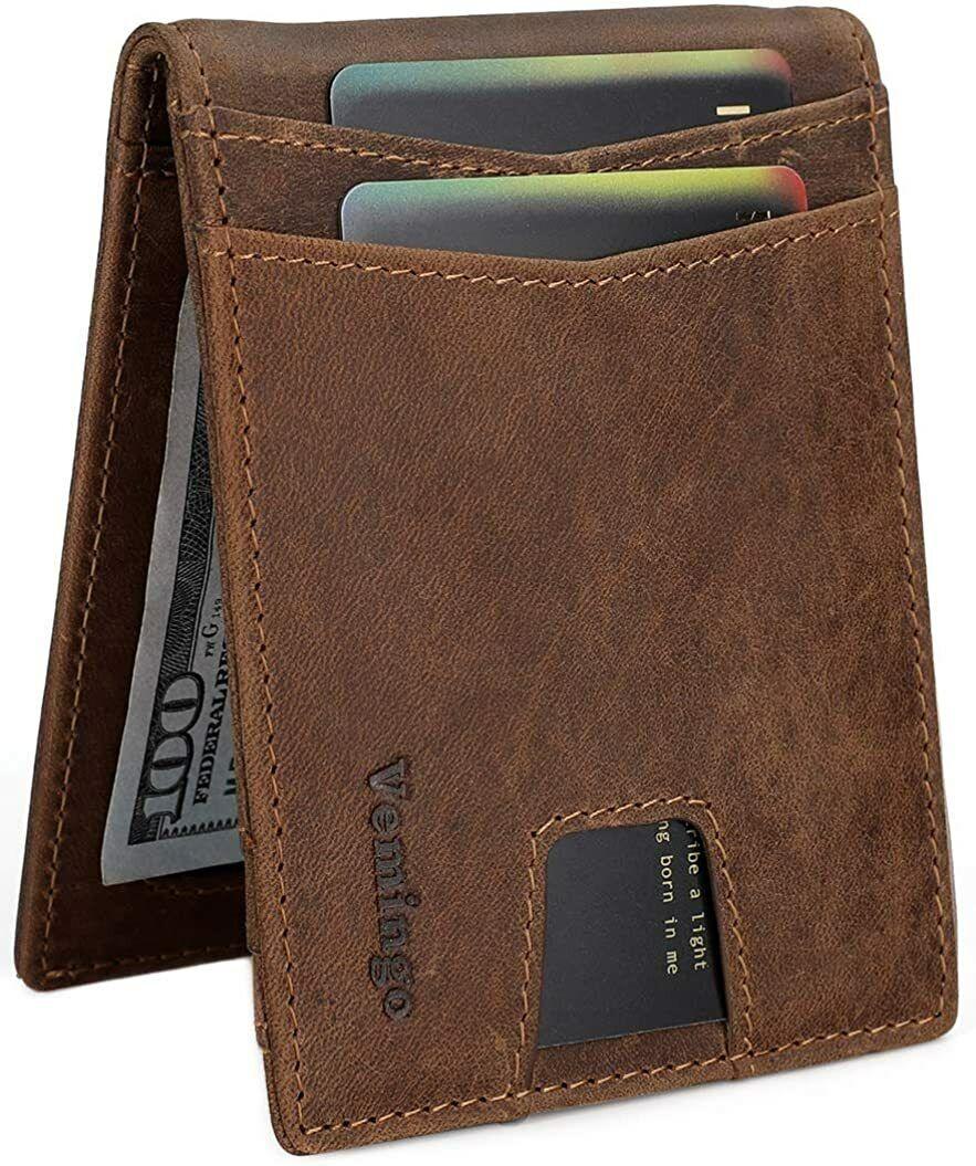 Vemingo Minimalist Slim Wallets for Men Genuine Leather Bifold Wallet with Money