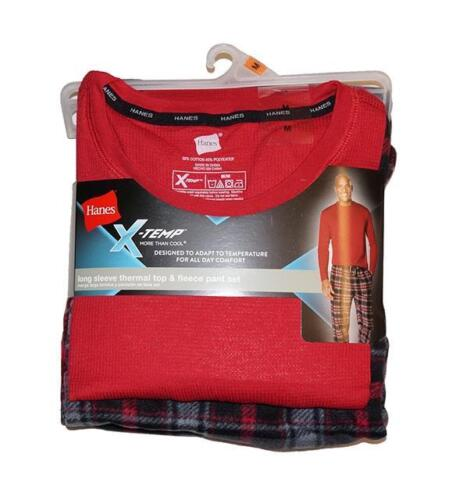 Hanes Men/'s X-Temp Long Sleeve Thermal Top /& Micro Fleece Pant Set Red Plaid