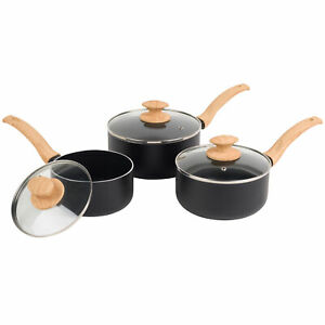 Progress® Scandi Smartstone Non Stick Saucepan Set with Lids 3-Piece (BW09025EU)