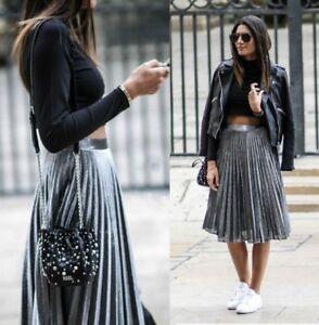 0c19a745fff2 Image is loading Zara-Silver-Metallic-Pleated-Skirt-Size-8