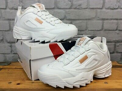 FILA LADIES DISRUPTOR III WHITE BRONZE LEATHER TRAINERS RRP £85 VARIOUS SIZES T | eBay